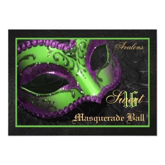 Green Mask Masquerade Sweet 16 Party Invitation Candied Clouds