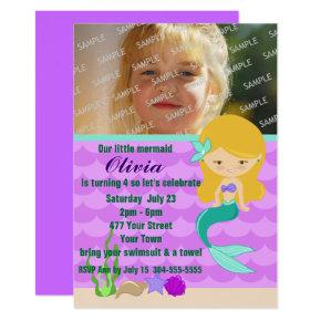 Green Mermaid Pool Party Invitations