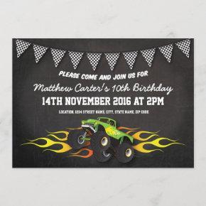 Green Monster Jam Truck Birthday Party Invitation