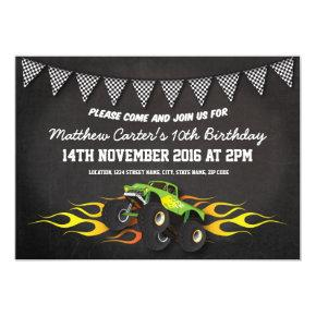Green Monster Jam Truck Birthday Party Invitations