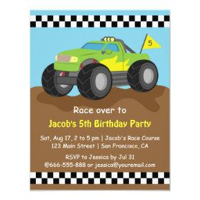 Green Monster Truck Birthday Party Invitations