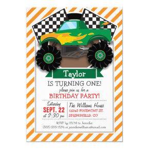 Green Monster Truck, Checkered Flag; Orange Stripe Card