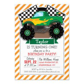 Green Monster Truck, Checkered Flag; Orange Stripe Invitations