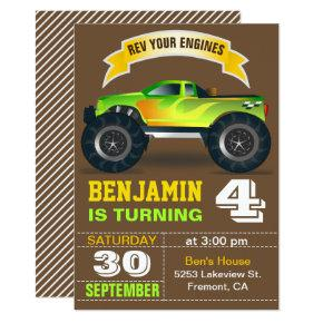 Green Monster Truck Kids Birthday Party Invitations