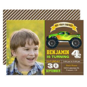 Green Monster Truck Kids Photo Birthday Party Invitation