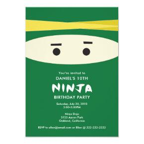 Green Ninja Party Invitation