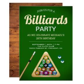 Green Pool Table Billiards Snooker Birthday Party Invitation