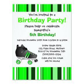 Green Roller Skate Birthday Party - Green Stripe Invitation