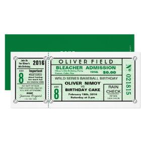 Green Stadium Ticket Baseball Birthday Invitation