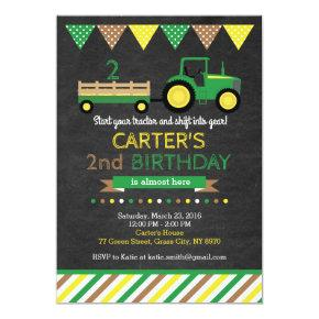 Green Tractor Birthday Invitations