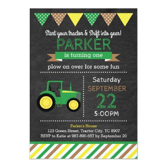 Green tractor birthday invitations candied clouds green tractor birthday invitations filmwisefo