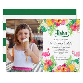 Green | Tropical Flamingo Luau Photo Birthday Invitation
