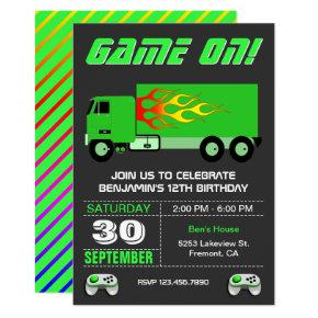 Green Video Game Truck Birthday Party Invitation