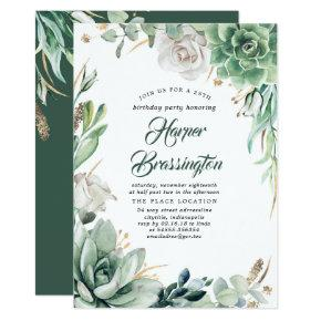 Greenery and Gold | Elegant Summer Birthday Party Invitation
