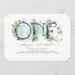 Greenery Baby's 1st Birthday Invitation - Neutral