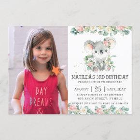 Greenery Floral Eucalyptus Koala Birthday Photo Invitation