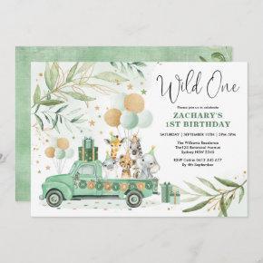 Greenery Gold Safari Wild Animals 1st Birthday Invitation