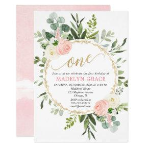 Greenery pink gold elegant girl 1st birthday invitation