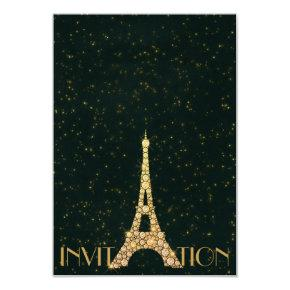 Greenery Starry Gold Eiffel Tower Paris Crystals Invitation