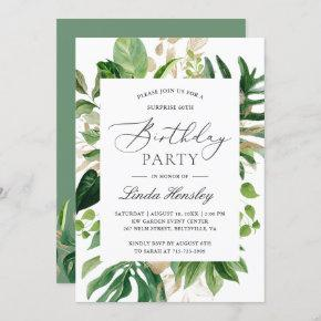 Greenery Tropical Leaves Summer Birthday Party Invitation
