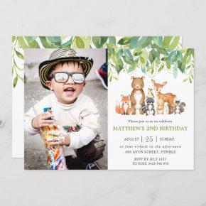 Greenery Woodland Animals Birthday Party Photo Invitation