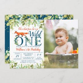 Greenery Woodland Wild One Fox 1st Birthday Photo Invitation