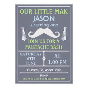Grey Little Gentleman Mustache Birthday Invitations