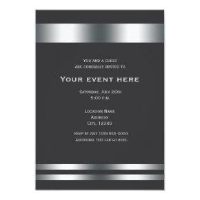 Grey Silver Elegant Dinner Party Event Invitation