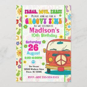 Groovy 70s Themed Birthday Invitation / Hippie Van