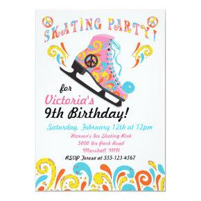 Groovy Ice Skating Party Invitations