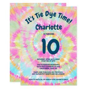 Groovy rainbow tie dye 10th kids birthday party invitation
