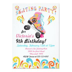 Groovy Roller Skating Party Invitations