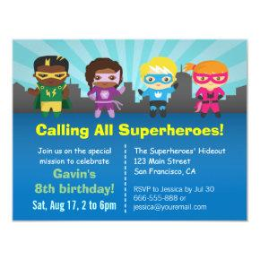 Group of Superhero Kids Birthday Party Invitations