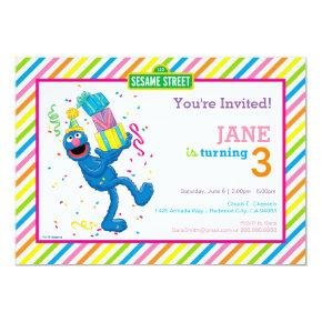 Grover Striped Birthday Invitation