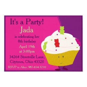 Gummy Bear Cupcake Invitations