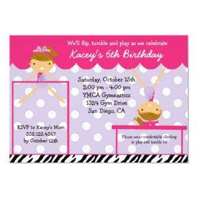 Gymnast Gymnastics Birthday Party Invitations Zebra