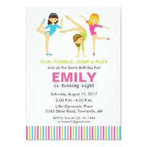 Gymnastic Birthday Party Invitations