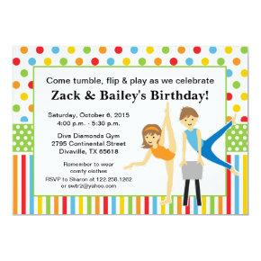 Gymnastic Boy and Girl Birthday Party Card