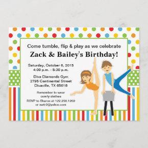 Gymnastic Boy and Girl Birthday Party Invitation