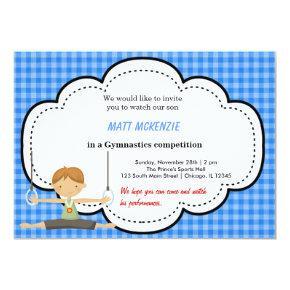Gymnastic Boy Competition (Blue) Invitations