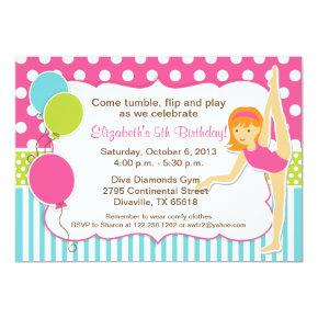 Gymnastic Girl with Red Hair Invitaiton Invitations