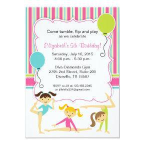Gymnastic Girls Birthday Party Invitations
