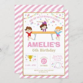 Gymnastics Birthday Dance Party Girl Pink and Gold Invitation