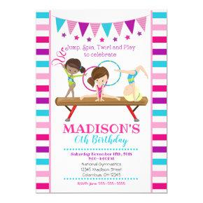Gymnastics Birthday Invitation / Girl / Pink Teal