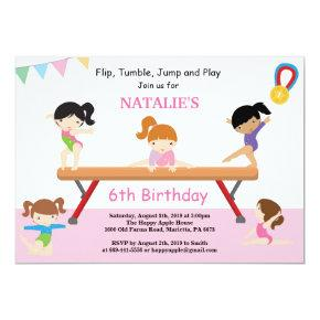 Gymnastics Birthday Invitation Pink Gym Party