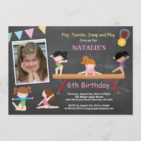 Gymnastics Birthday Invitation Pink Gym Party
