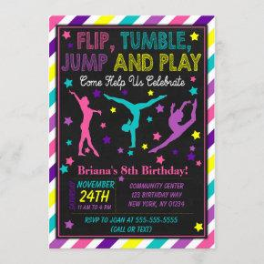 Gymnastics Birthday Party Invitation for a Girl