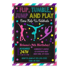 Gymnastics Birthday Party Invitations for a Girl