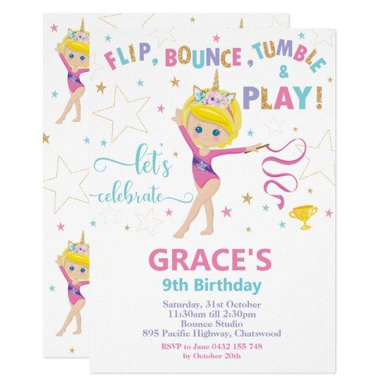 Gymnastics Birthday Party Short Blonde Hair Girl Invitation