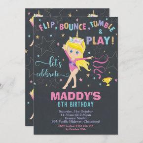 Gymnastics Birthday Party Unicorn Blond Girl Invitation